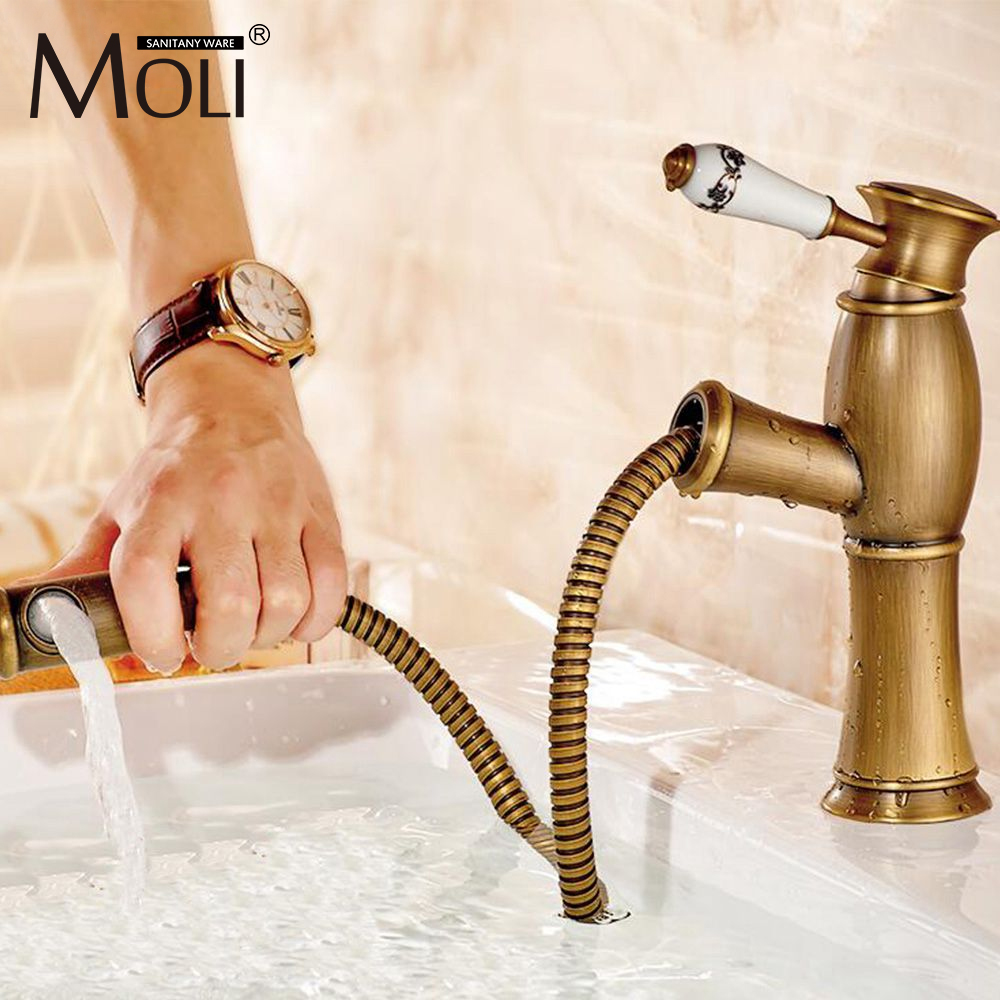 Soild brass antique brass bathroom faucet single ceramic handle pull out spout basin mixer easy use cold&hot water tap