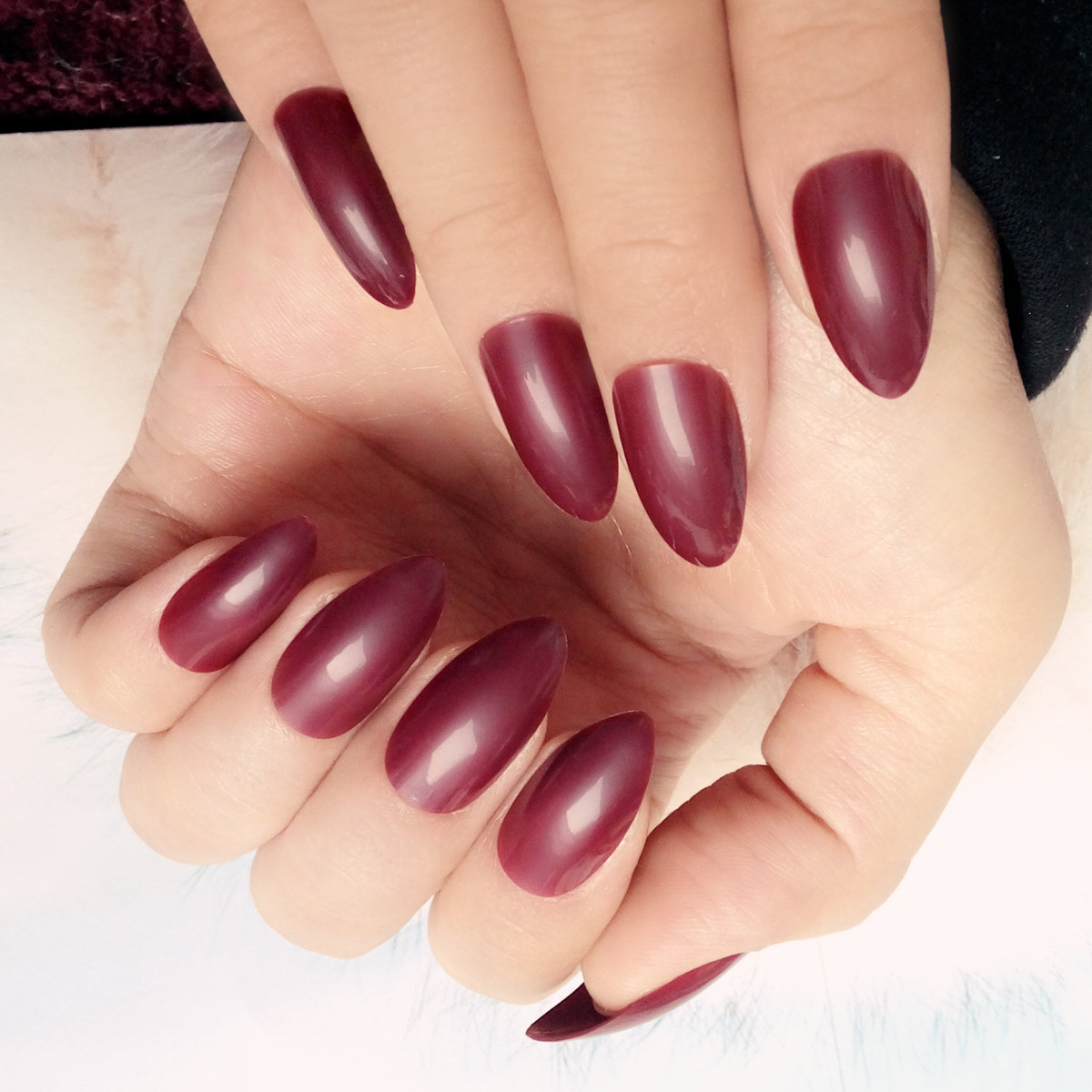 Aliexpress Buy Candy Dark Red False Nails Pointed Acrylic Fake