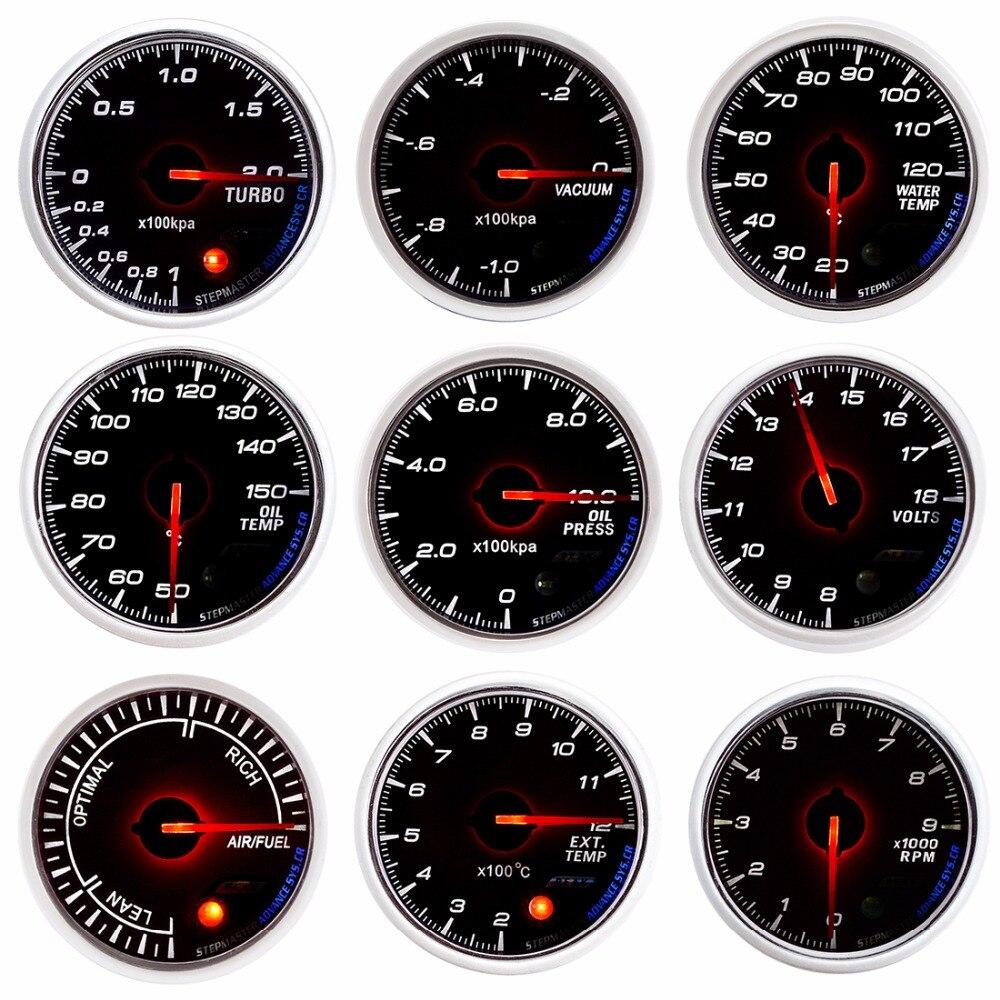 Drachen Manometer Auto Gauge 60mm Boost VAKUUM Wasser Temp Oil Temp ÖLPRESSE VOLT AIR/KRAFTSTOFF VERHÄLTNIS EXT TEMP RPM Meter Weißes Zifferblatt gesicht