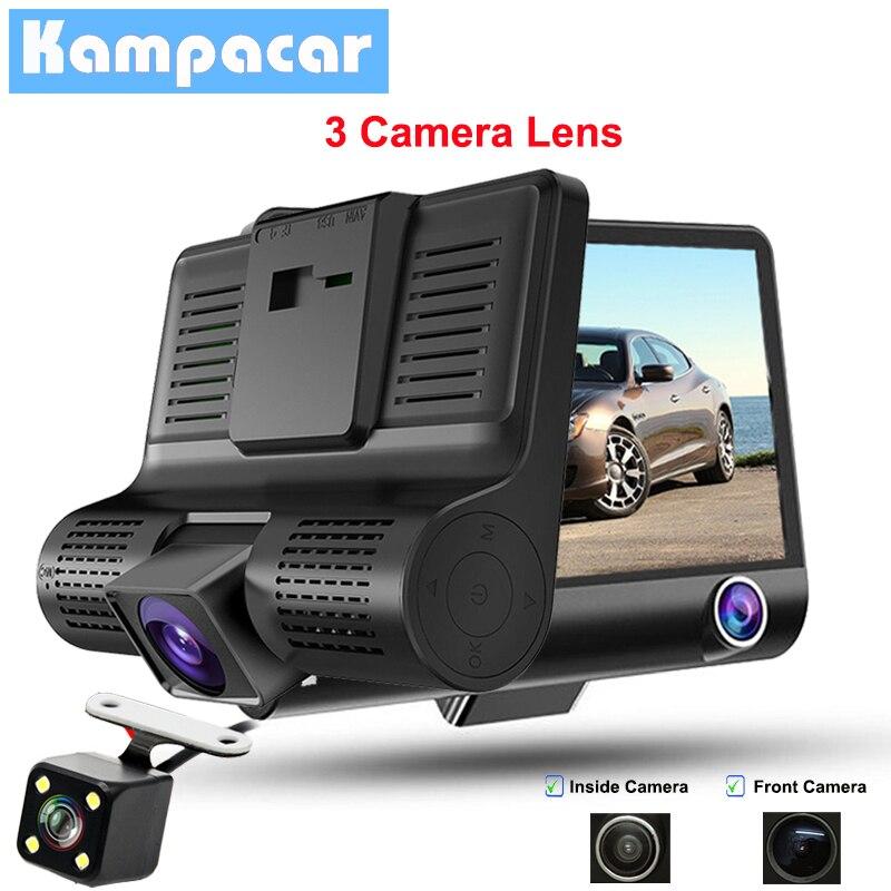 Kampacar 4 Inch 2 Camera Car Dvr Three Mirror Dual Dash Cam Full HD 1080P Car