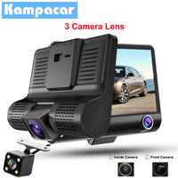 Kampacar 4 Inch 2 Camera Car Dvr Three Mirror Dual Dash Cam Full HD 1080P Car Camera Recorder Auto 3 Cameras Lens Dvrs For Cars