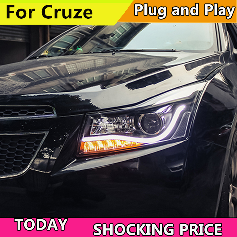 Car Styling Head Lamp For Chevrolet Cruze Headlights 2009-2015 LED Headlight DRL Q5 Bi Xenon H7 hid Bi-Xenon Lens low beam auto lighting style led head lamp for mazda 3 axe headlights for axela led angle eyes drl h7 hid bi xenon lens low beam