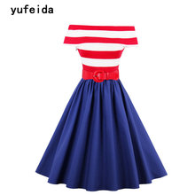 YUFEIDA Women Sexy Off Shoulder Summer Cocktail Sleeveless Red White Striped Belted Swing Party Casual Rockabilly Dresses