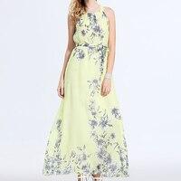 df514da29e4a4a Summer Sleeveless Floral Print Dress Women Spaghetti Strap Ankle Length  Dresses Sexy Beach Backless Dress Female