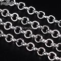 Iron Rolo Chains, Nickel Free, Come On Reel, Silver Color, Size: about 3mm in diameter, 1mm thick, 100m/roll