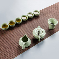 Ceramic kung fu Tea Set 1 Teapot With 6 Teacups and Tea infuser and Fair Cup Exquisite Design For Tea Services Or Gift B026