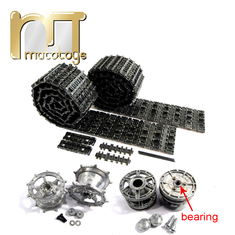 Mato King Tiger Metal Tracks Sprockets Driving Wheels Idlers set for Heng Long 3888-1 3888A-1 1 16 RC Kingtiger Tank купить недорого в Москве