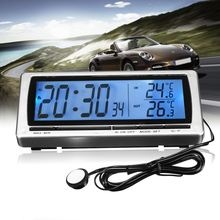 12V LCD Display Voltage Monitor Car Digital Clock Thermometer Hygrometer Weather Temperature Forecast Clock Alarm Snooze(China)