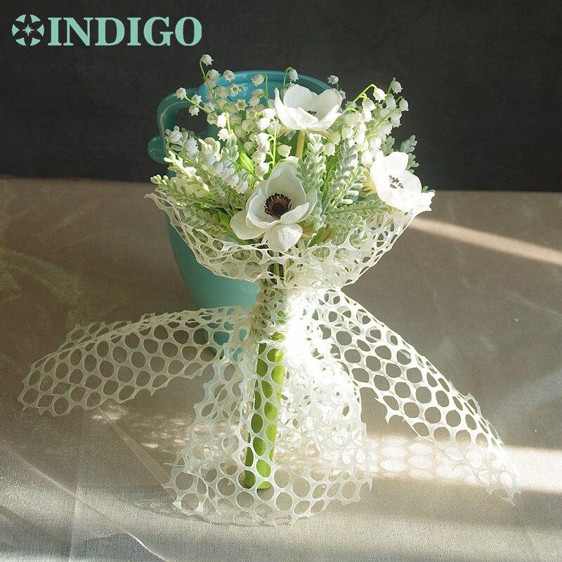 Blanc Convallaria + anémone Bouquet mariage mariée fleur muguet plastique fleur pièce maîtresse fleur livraison gratuite