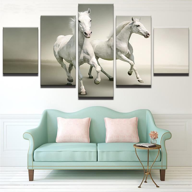 5 panel HD impreso enmarcado dos pareja blanco caballos de pared ...