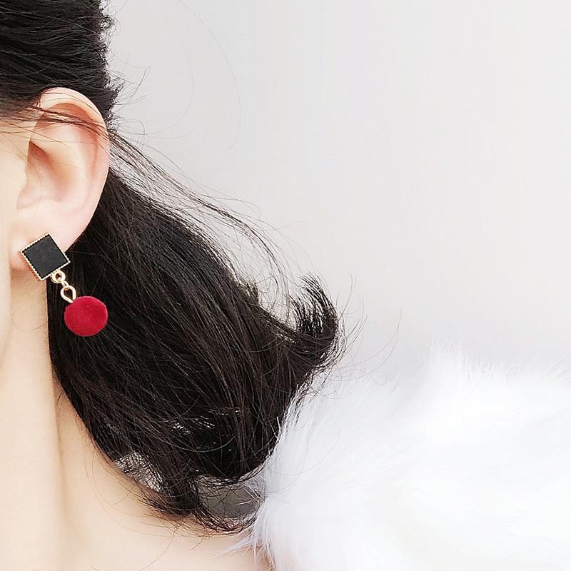 Ajojewel Simple Acrylic Geometric Earrings Women Velvet Ball Asymmetrical Earrings Jewellery Wholesale 2