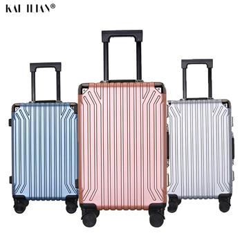 Aluminiowa rama walizka podróżna kółka obrotowe 20 cali carry on cabin bagaż na kółkach srebrna walizka Rolling pojemnik na bagaże tanie i dobre opinie NoEnName_Null Bagażu hardside Spinner XINGAN Unisex