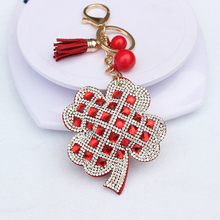 Leather High Quality crystal rhinestone Key chain Fashion Creative cute 11 color Four Leaf Clover Lucky women Chain ring