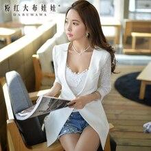 dabuwawa new fashion 2016 brand slim casual white inlaid lace suit elegant blazers women autumn pink doll