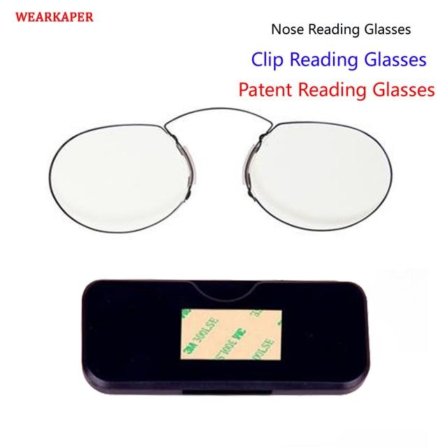 WEARKAPER Patent Nose Clip Glasses Thin Frame Portable Reading Glasses Men Women with Pocket Pince Nez Rimless Eyewear