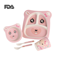 5 PCS/set Kids Dinnerware Sets Babys Bowl Plate Spoon Fork Cup Cute Food Fruit Container Children Safe Feeding Tableware