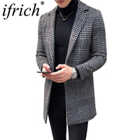 Men's Wool Coat England Middle Long Coats Jackets Slim Fit Male Autumn Winter Overcoat Woolen Coat Gray Black Plaid Smart Casual