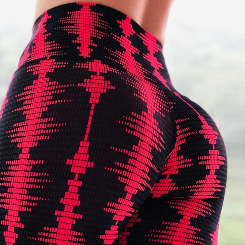 2019 Hip high Waist Plaid Leggings sports Streetwear High Waist Workout Leggings Autumn Women Casual Skinny Pants And Trousers in Leggings from Women 39 s Clothing