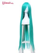 """L דוא""""ל פאה חדש נשים 100cm קוספליי פאות ארוך ירוק ישר טמפרטורה גבוהה סיבי שיער סינטטי Perucas פאת קוספליי"""