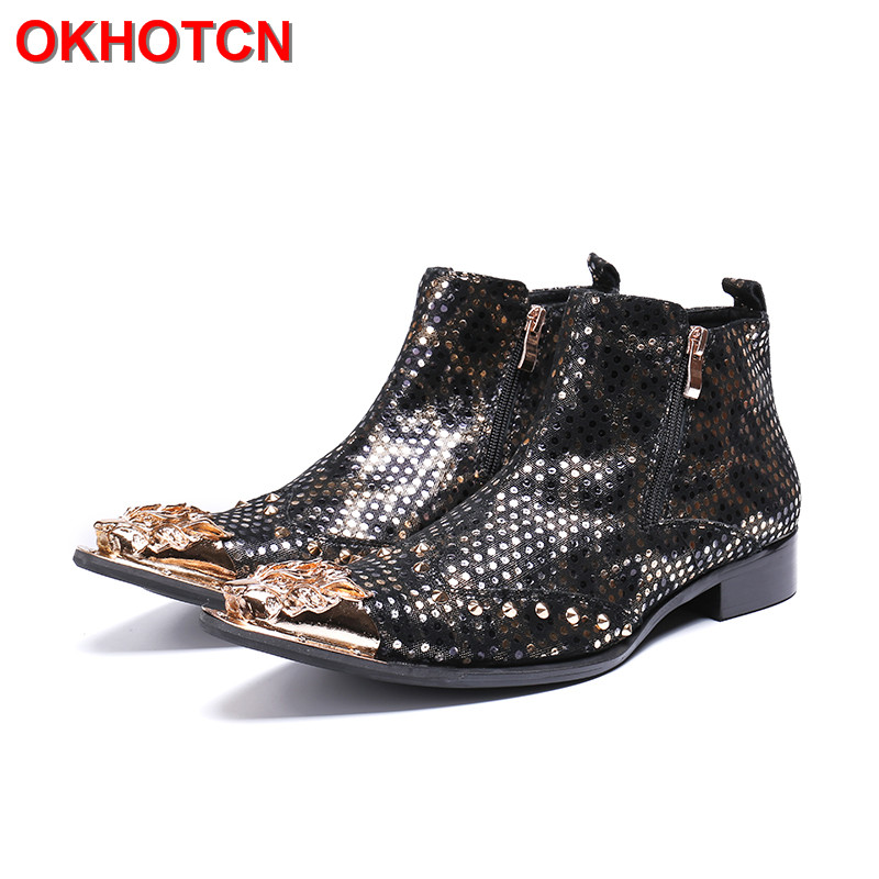 2019 Pointed Toe Cow Suede Ankle Boots Men Fashion Print Men Rock Boots Side Zip Black Gold Polka Dot Mens Leather Ankle Boots zip up abstract print side pocket jacket