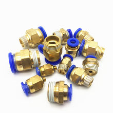 Pneumatic fittings quick push in connector 1/8'' 1/4'' 3/8'' Male Thread-4 6 8 10 12mm air tube Straight connection PC6-02 8-02(China)