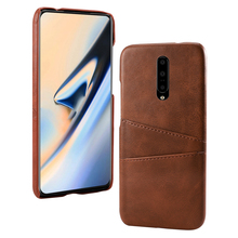 for OnePlus 7 Pro Case Calf Grain PU Leather PC Back Case with 2 Card Slots Protective Cover for One Plus 7 pro Case Vantage