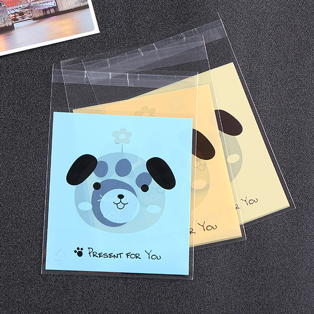 100pc Cute Bear Dog  Cat Adhesive Plastic Bag Wedding Birthday Party Favors Cookie Candy Cartoon Kids Gift Bags