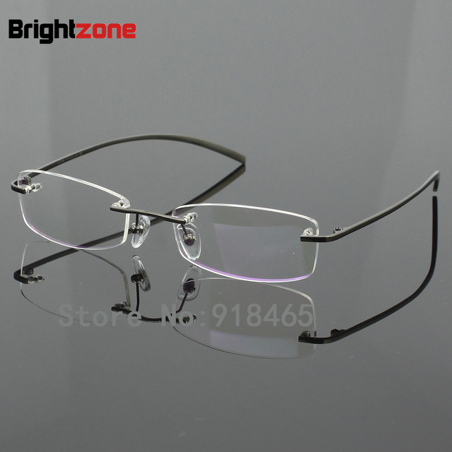 00cff18550 Hot Sell 100% Pure Titanium Men s Eyeglasses Frame Optical Prescription  Women RXable Rimless Glasses Light Weight 1028 Demo Lens