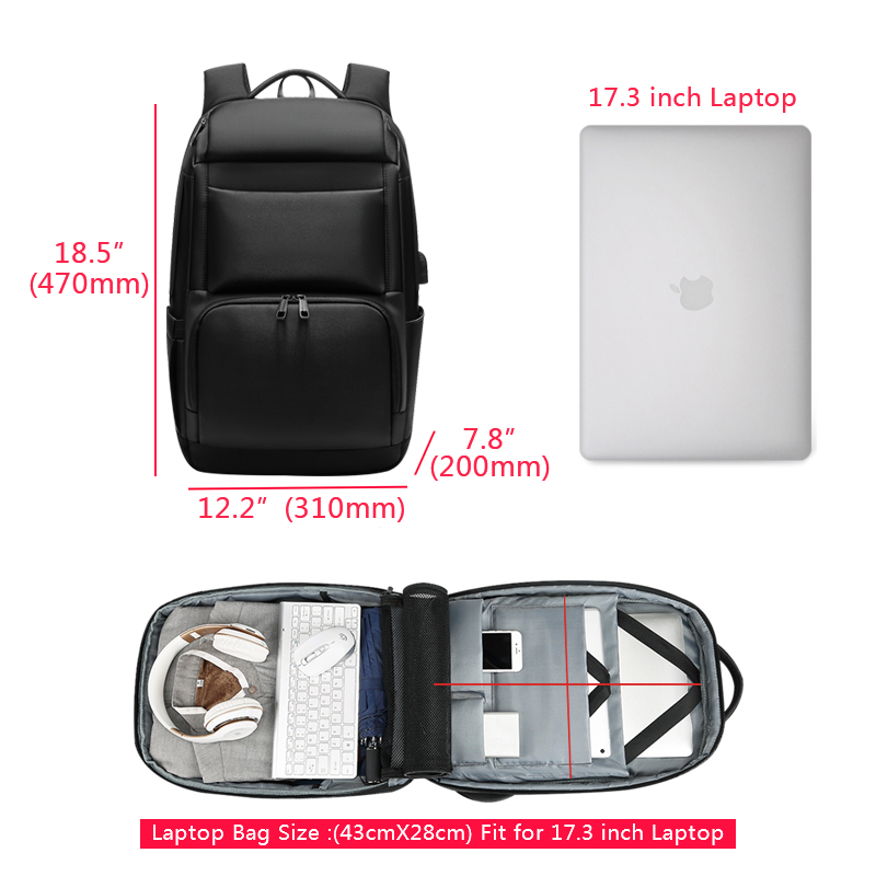 Anti-theft Laptop Backpack - Water Resistant, USB Port, Luggage Strap 5