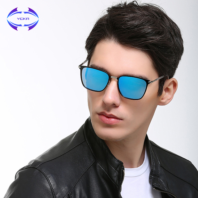 bde526be1069 VCKA Retro Square Sunglass Men Polarized Glasses Vintage Women Metal Frame  Eyewear Ultra-light UV400