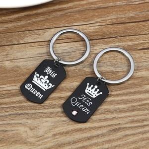 Ее король его королева пара брелок черный металлический кристалл брелок в форме короны кольцо держатель день Святого Валентина Рождественские подарки Chaveiro