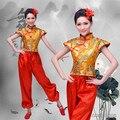 2016 Top Fashion Mulheres Disfraces Trajes de Dança Chinesa Antiga Hanfu Dragão Padrão Tambor Yangko Desgaste Nacional Traje Do Estágio