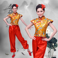 2016 Top Moda de Disfraces Trajes de Baile de Las Mujeres Hanfu Chino Antiguo Dragón Patrón Tambor Yangko Desgaste Traje de la Etapa Nacional