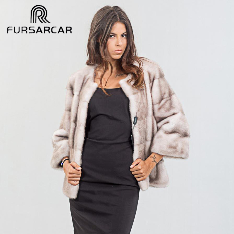 FURSARCAR Femme Real Mink Fur Coats Luxury Woman's Full Pelt Winter Mink Fur Coat for Female Natural Genuine Leather Fur Jacket