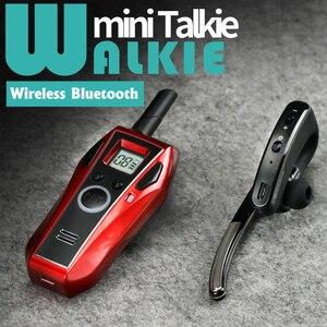 Image 1 - ミニトランシーバーハンドヘルド Bluetooth ヘッドセットワイヤレスイヤホン小型双方向ラジオワイヤレスヘッドフォン Buletooth イヤホン