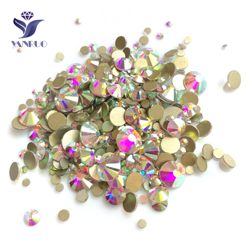 YANRUO Mix Crystal AB Rhinestone Flatback Shiny Nails Art Craft Glass Stones Strass DIY Rhinestones For Clothes Decorations