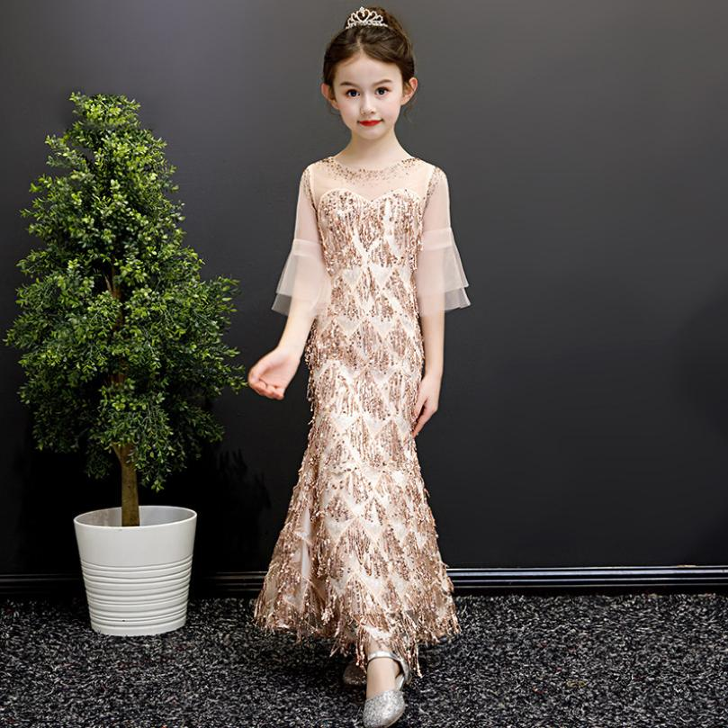 Luxury Mermaid Princess Dress Sequined Children Pageant Gown Birthday Party Girl Evening Dress Modis Kids Clothes Vestidos Y1433Luxury Mermaid Princess Dress Sequined Children Pageant Gown Birthday Party Girl Evening Dress Modis Kids Clothes Vestidos Y1433