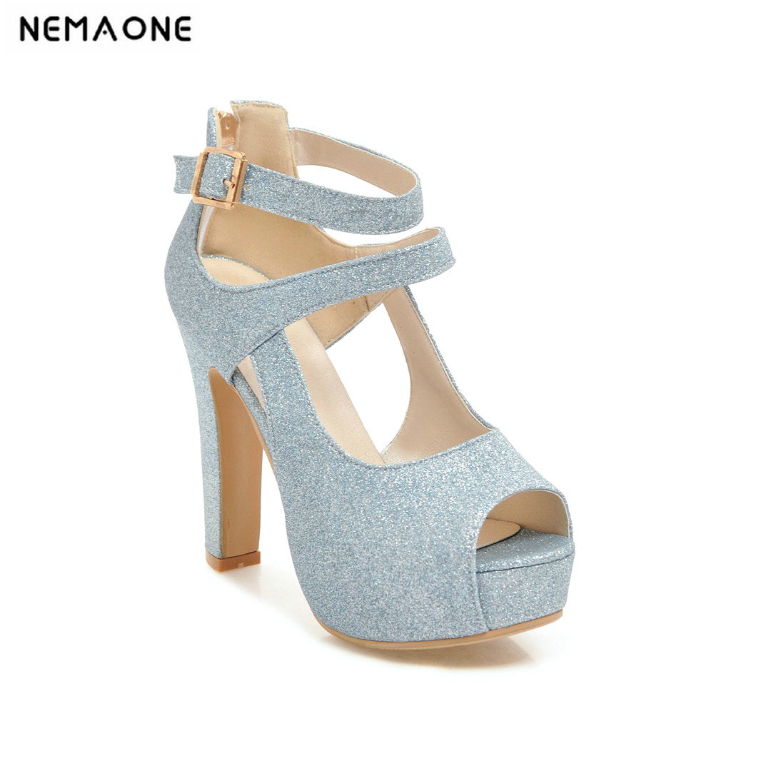 NEMAONE 2019 New women sandals bling high heels sandals woman buckle casual shoes woman ladies work shoes nemaone new sexy high heels sandals