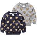 Niños camiseta de la Historieta patrón sudadera 2016 niños del otoño ropa infantil Chicos de Manga Larga camisetas
