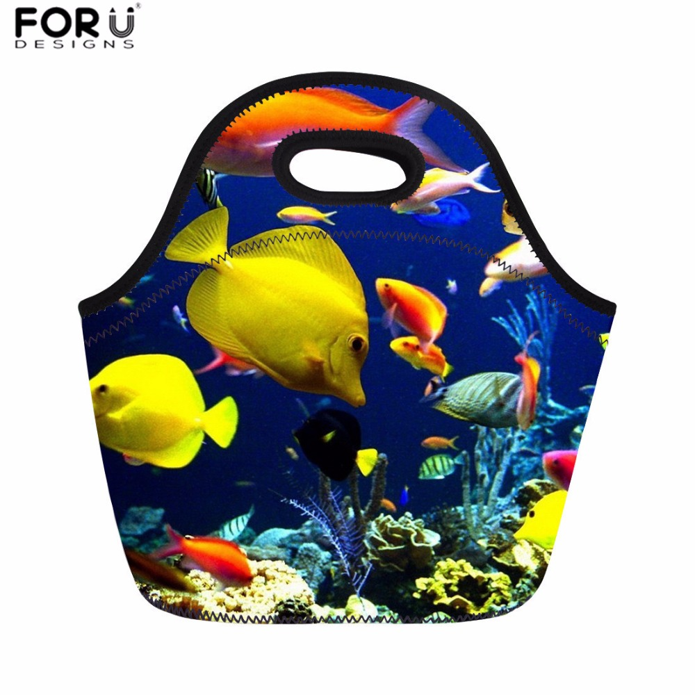 FORUDESIGNS Lunch Bag for Women Fish Shark Dolphin Print Food Themal Bag Kids School Insulated Lunch Bags Girls Boys Picnic Bags