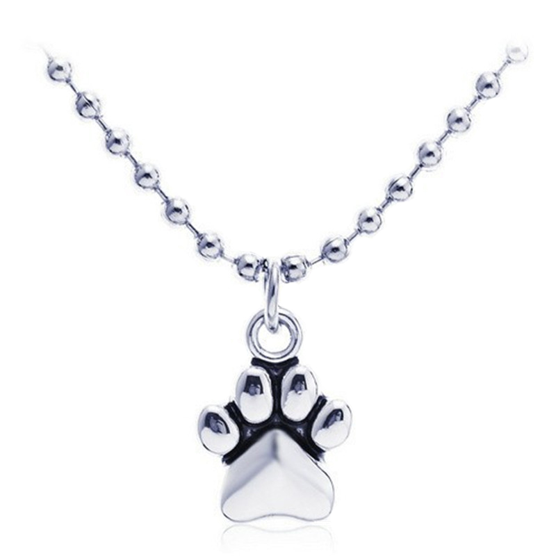 New Fashion 2015 Lureme Brand Jewelry Alloy Little Silver Plated Dog Foot Print Pendant Necklace For womens Birthday Gift