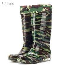 Hot New Fashion Men Knee-high PVC Camouflage Green Rain Boots Flat Heels Soft Male Rainboots Waterproof Water Shoes  #TR93