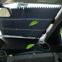 Car Sunscreen Insulation Sunshade Automatic Retractable Car Curtain Sunshade Summer Front Windshield Insulation Curtain|Windshield Sunshades|   -