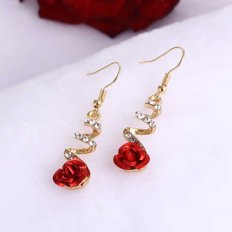 Korean Fashion Temperament Charming Rose Red Crystal Flower Drop Earring Women's Hangs for Wedding / Bridal Party Earring