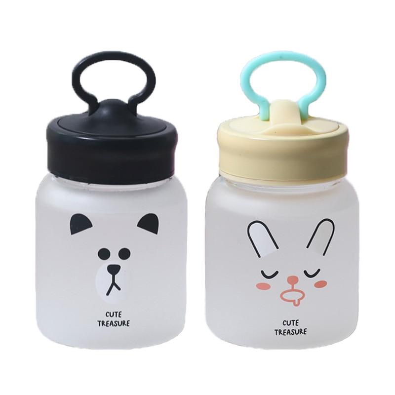 300ml Cartoon Water Bottle Cute Frosted Glass Bottle for Water Drinking Milk Bottle Kids Portable Drinkware Summer Sport Bottles