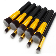RANCAI 10 Pcs Silver/Golden Makeup Brushes Set Cosmetics Foundation Blending Blush Tool Powder Eyeshadow Cosmetic
