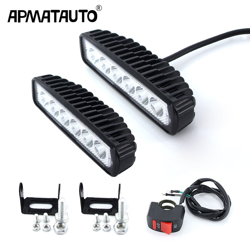 Motorcycle LED <font><b>Headlight</b></font> Pair Motocross ATV <font><b>Dirt</b></font> <font><b>Bike</b></font> Daytime Running Spot Light Fog Lamp <font><b>Universal</b></font> for KTM YAMAHA KAWASAKI BMW image