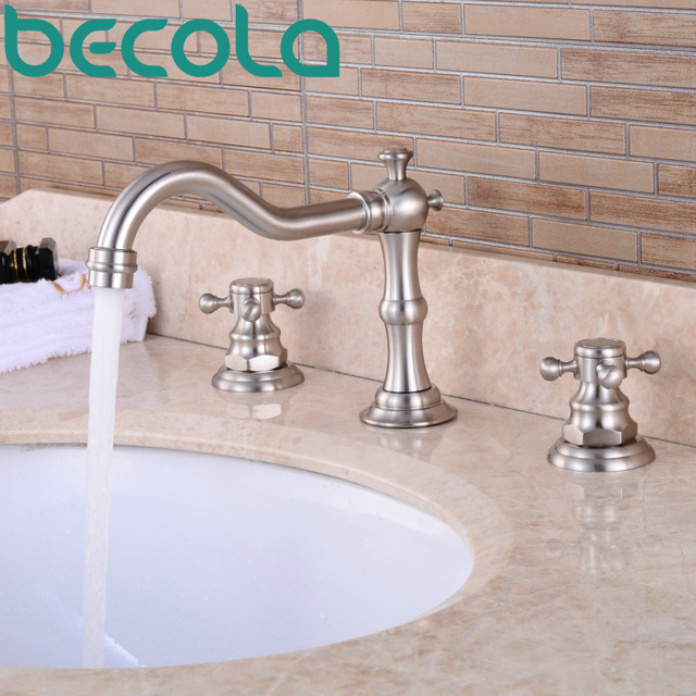 3 piece bathroom faucet. Free shipping becola brushed nickel bathroom basin tap double handle 3 piece  set bathtub faucet GZ Aliexpress com Buy