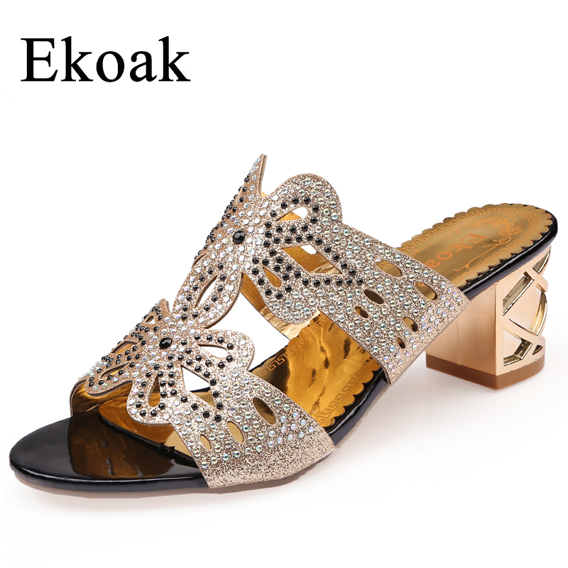 Ekoak New 2017 Summer Shoes Woman Fashion Rhinestone High Heels Women Sandals Classics Ladies Wedding Party Shoes Beach Sandals цены онлайн