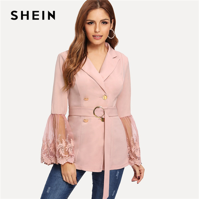 73e4497f8f37 SHEIN Pink Embroidered Mesh Insert Bell Sleeve Flounce Sleeve Belted ...